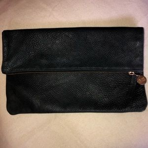 Clare Vivier Black Pebbled Leather Foldover Clutch